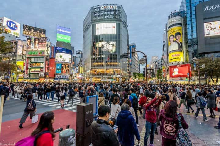 Espectáculo de luces en Shibuya Foto Benny Ang
