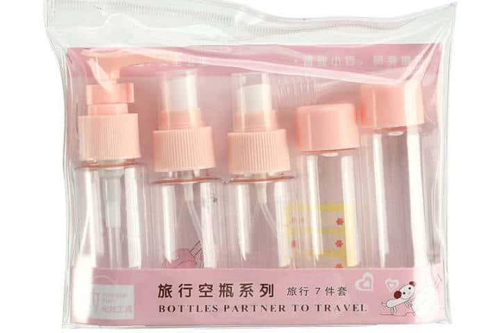 Como hacer una maleta. Botellas de 100 ml. Foto. AliExpress 2