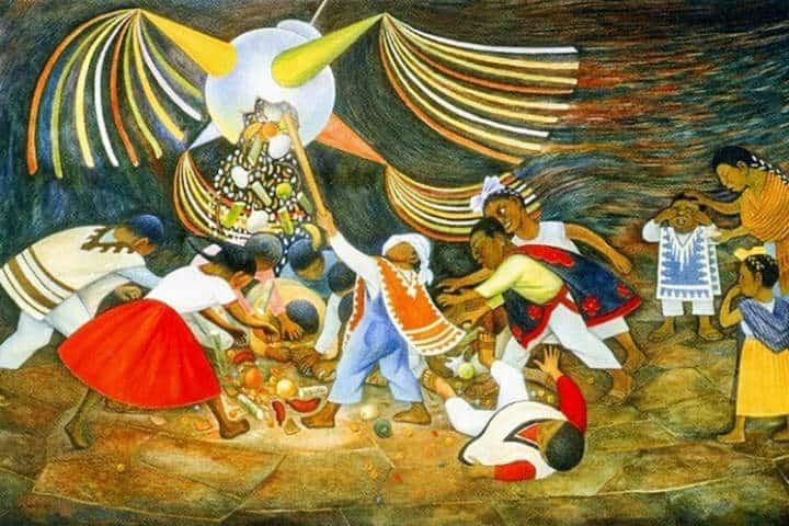 Pintura de indigenas en posada.Foto.Más que Piñatas.11