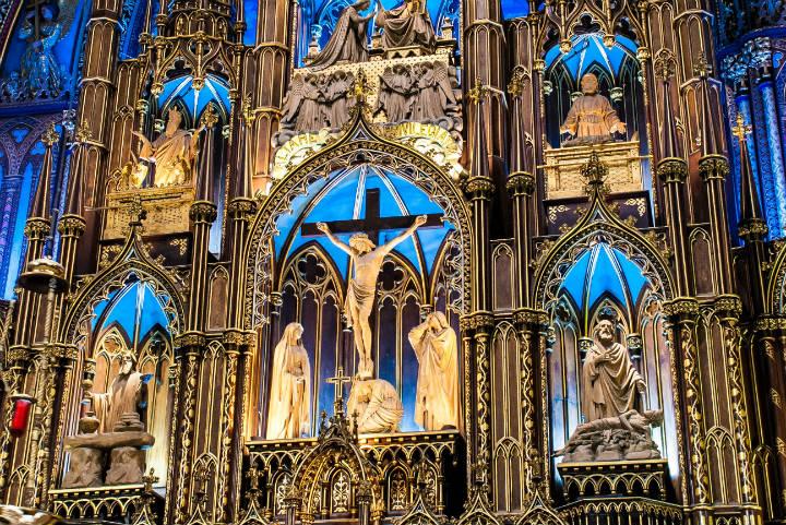 Iglesia Notre Dame en Montreal. Foto Basilique Notre-Dame.