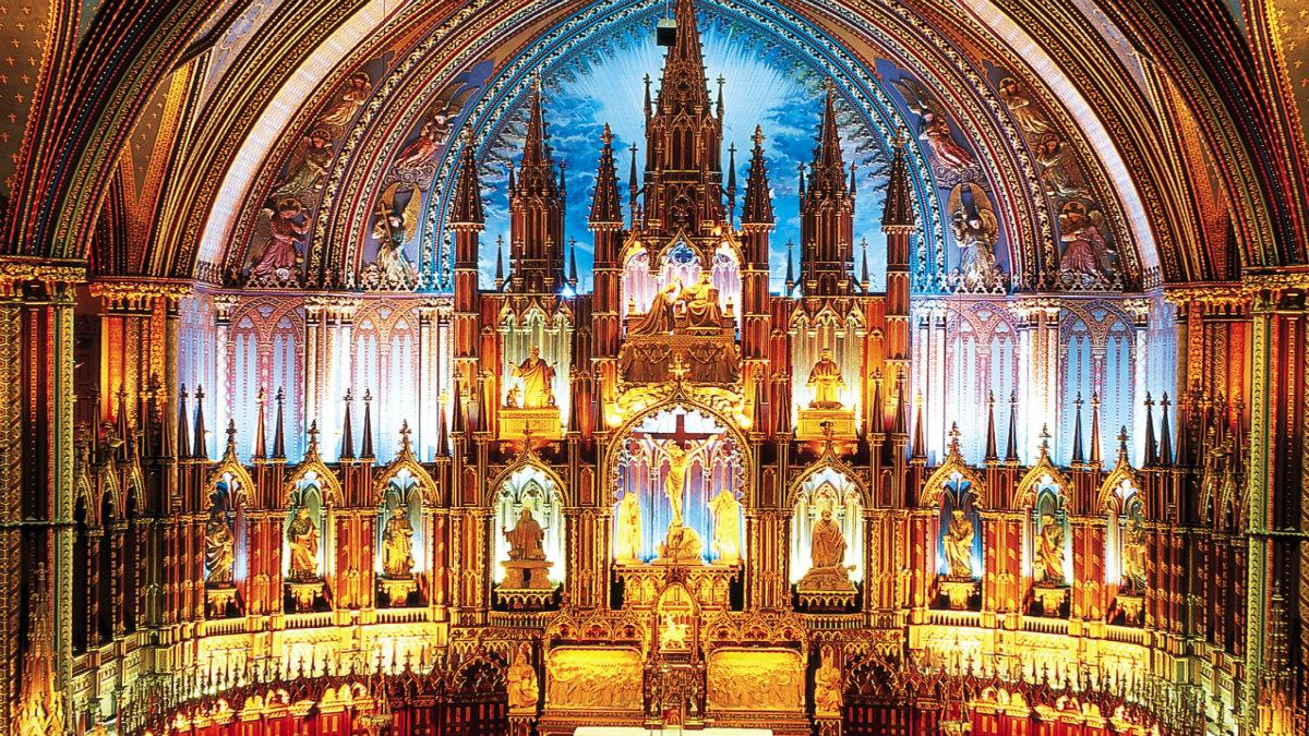 Iglesia Notre Dame en Montreal. Foto Pinterest.