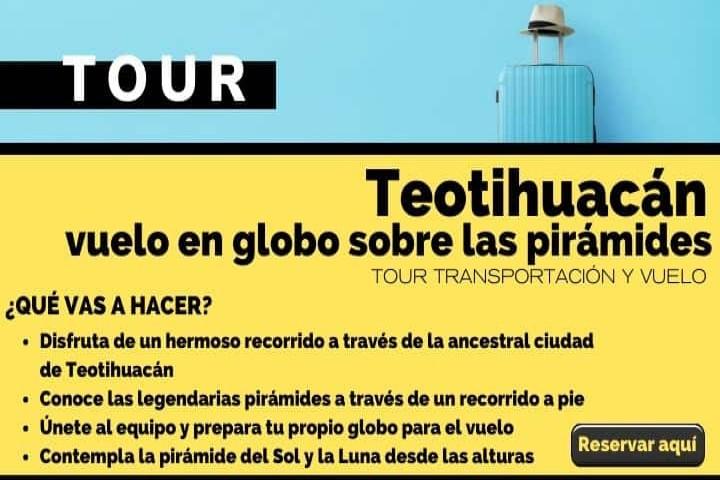 Tour vuelo en globo sobre las pirámides de Teotihuacán. Foto Arte El Souvenir.