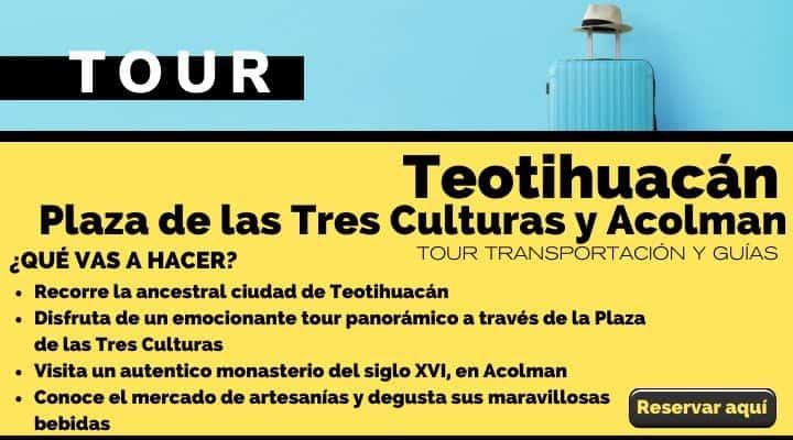Tour Teotihuacán, plaza de las Tres Culturas y Acolman. Arte El Souvenir