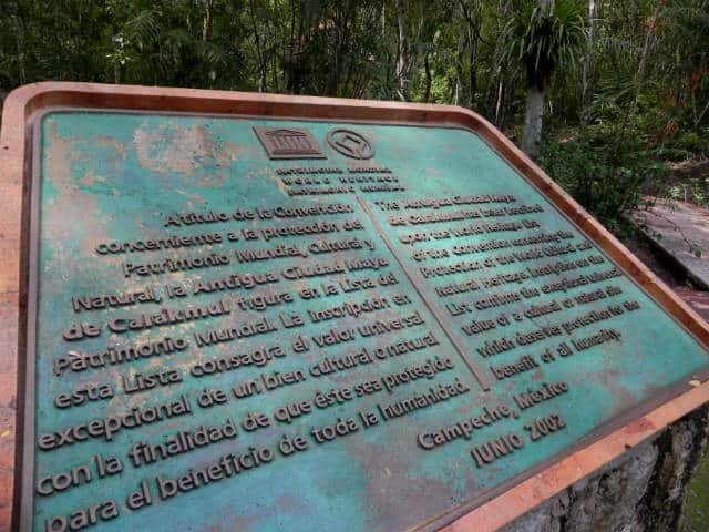 Calakmul placa unesco