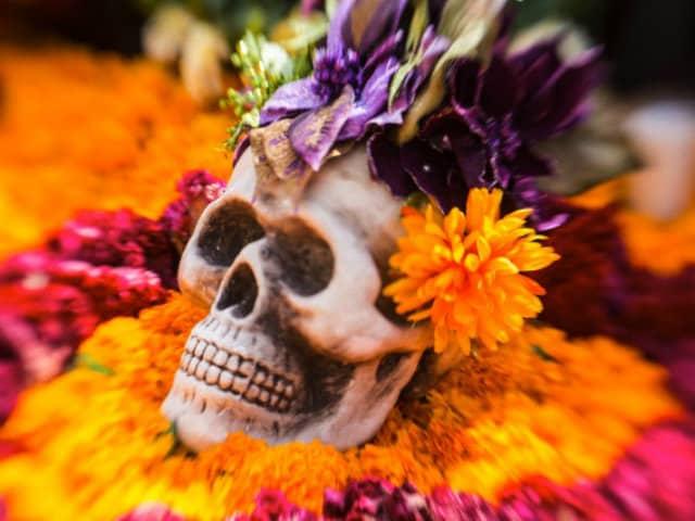 dia muertos calabera flores