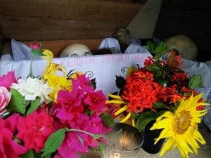 Pomuch ofrenda con flores