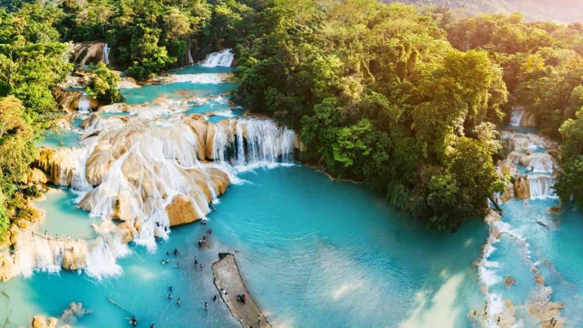 Cascada de agua azul. Imagen: Chiapas. Archivo-1420×800 (1)