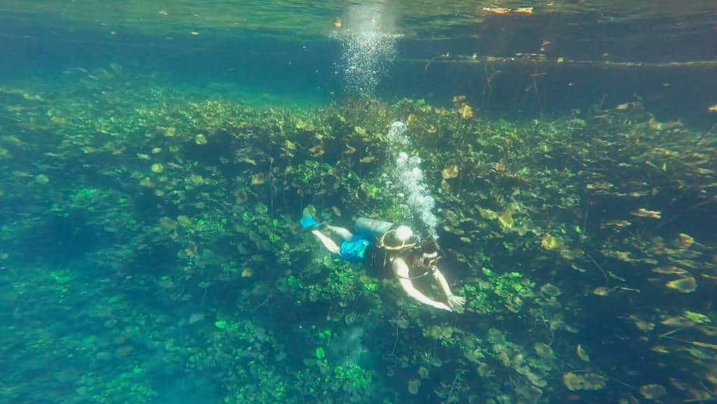 Visitante buceando en la laguna de la Media Luna