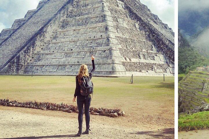 Video de mujer conociendo las 7 maravillas del mundo