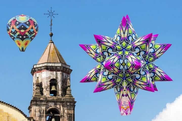 Globos de Cantoya sobrevolando Michoacán. Imagen: archivo