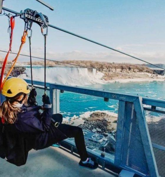 Tirolesa en las Cataratas del Niagara.foto: NIagara Falls Diary