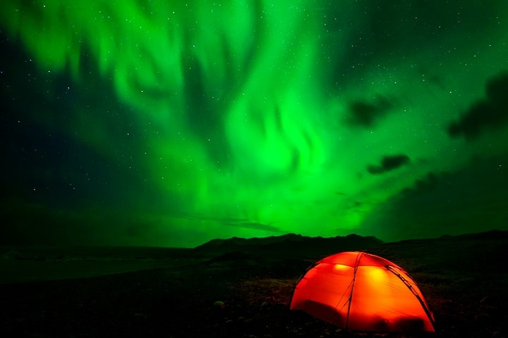 Aurora boreal camping