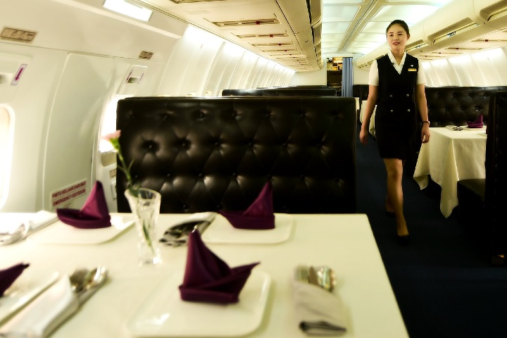 restaurante dentro de un avión en china