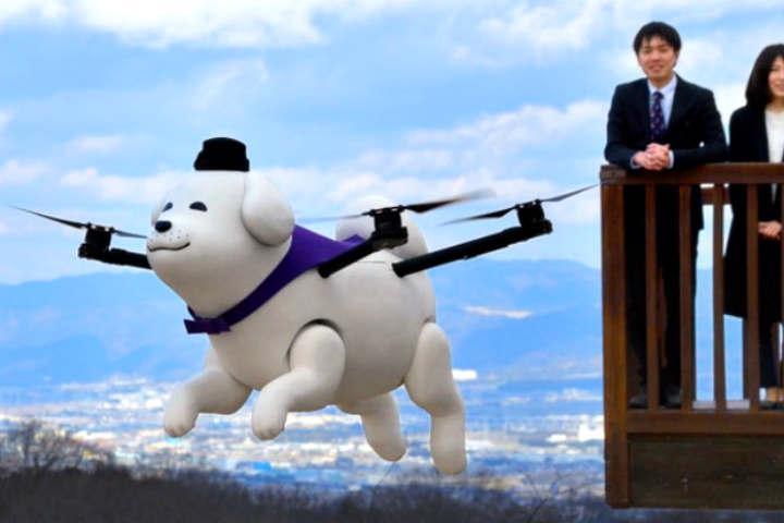 Conoce el dron en forma de perro en Japón.Foto.Twitter.1