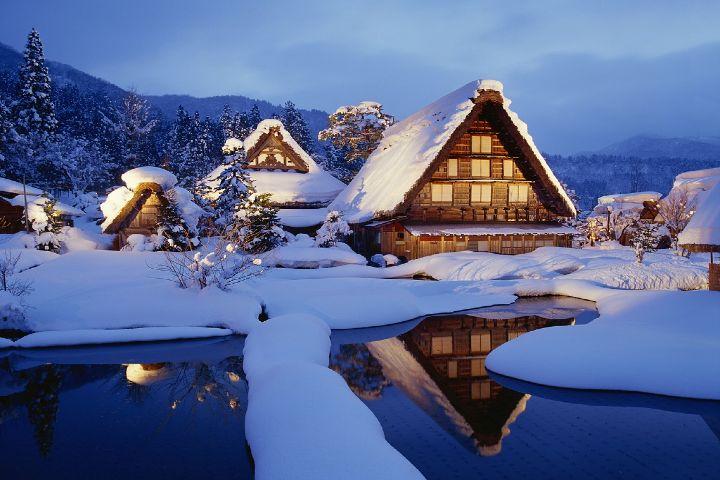 Lugares de Nieve Foto: shirakawa go japon invierno