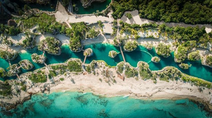 Aerial Beach hotel xcaret