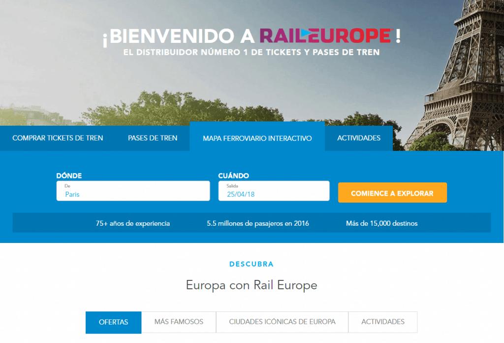 Página de inicio Rail Europe en español ok