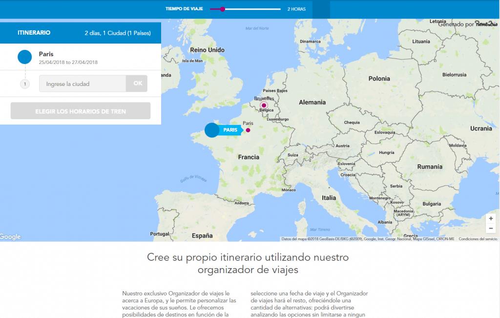 Planificador de viajes de Rail Europe en español