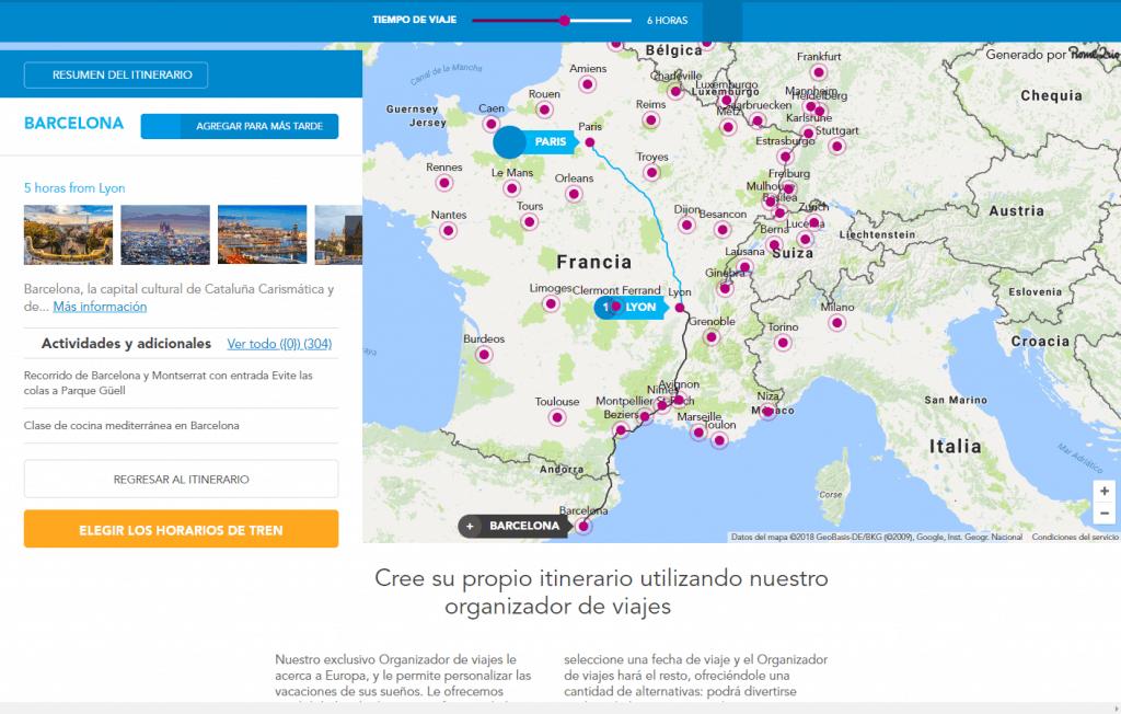 Trazando ruta París-Lyon-Barcelona en Rail Europe en Español, ok