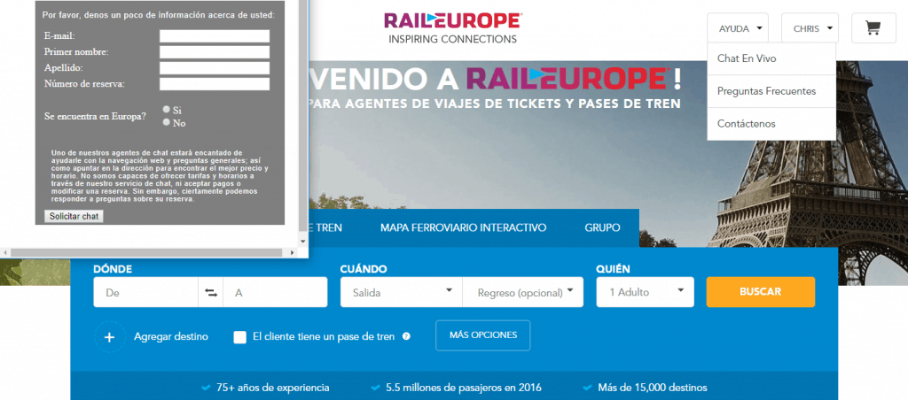 Servicio de chat de Rail Europe en español ok