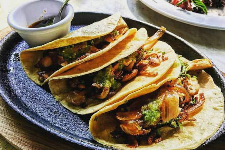 Comer rico y barato en Playa del Carmen Tacos de setas Foto 100 natural