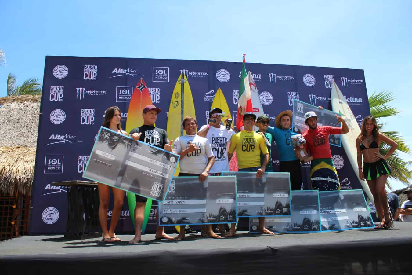 Surf en Puerto Escondido Cup 2018 podium hombres