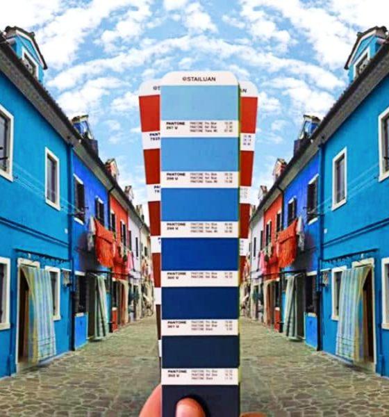 Artista usa paleta de colores en Italia.