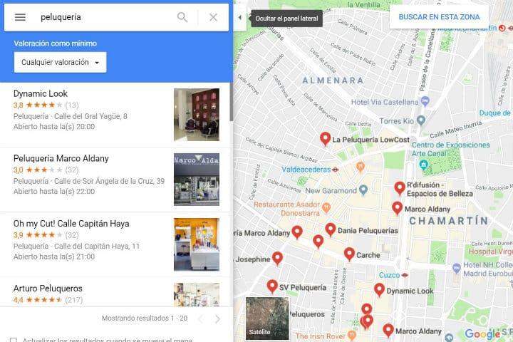 calificacion lugares maps