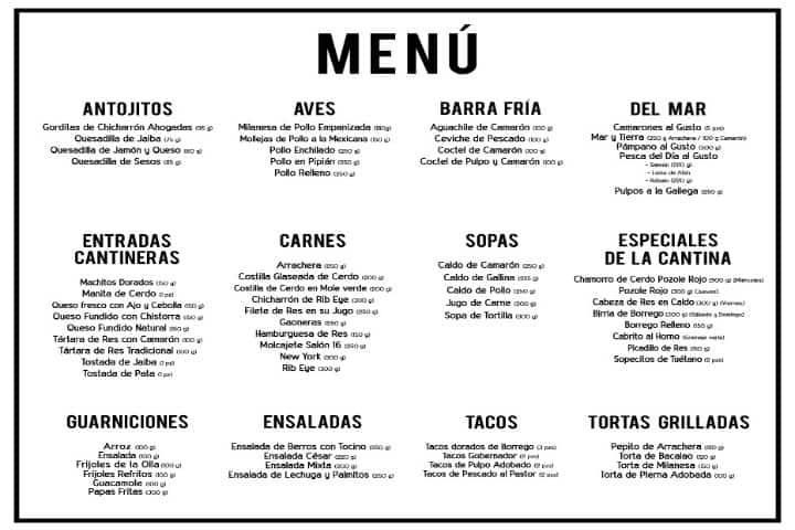 salon 16 cantina menu