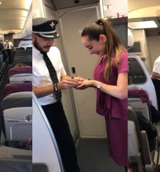 Piloto le pide matrimonio a su novia sobrecargo. Foto de redes sociales