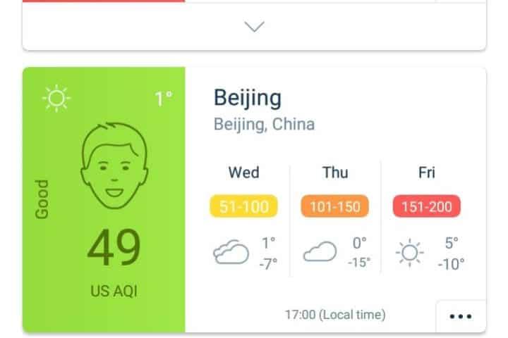 Hacer que tu viaje sea más sustentable Foto AirVisual App