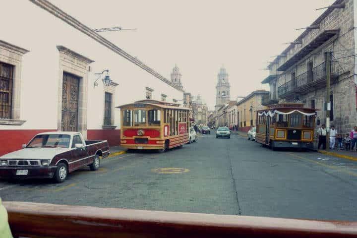 Tranvía del Romance en Morelia.