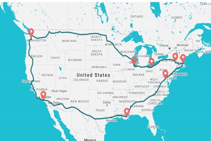 Ruta de tren por Estados Unidos Foto Wanderu