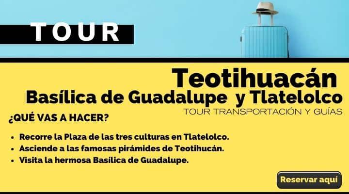 Tour Teotihucán, Basílica de Guadalupe y Tlatelolco. Arte El Souvenir