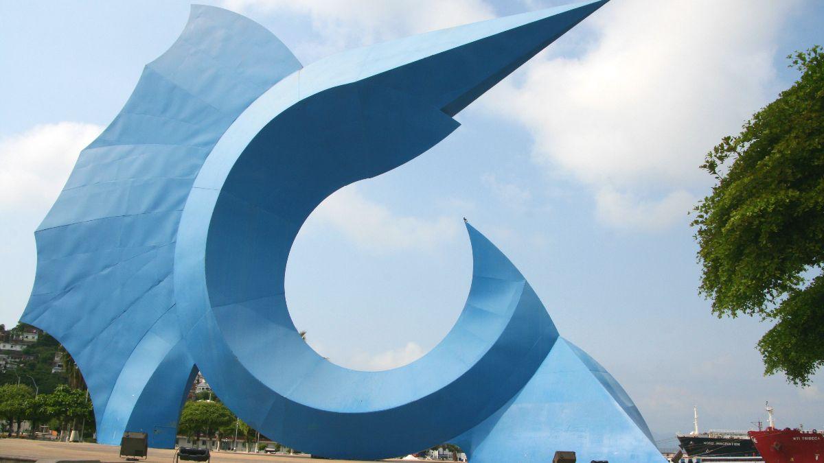 Manzanillo. Monumento al pez vela. Foto: Diethelm Scheidereit