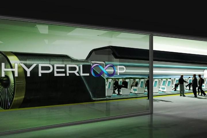 Hyperloop viajar en capsula.Foto Profundidad de campo.