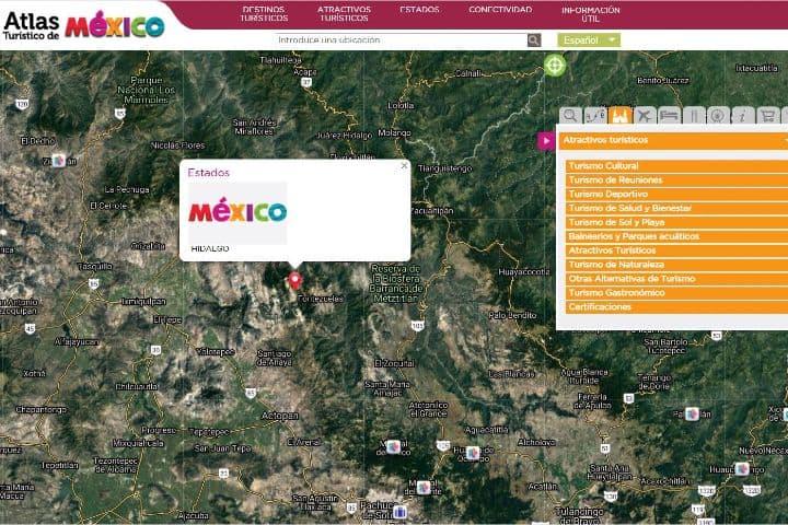 La página webs del Atlas Turístico de México tiene muchas herramientas para ayudar a los viajeros Foto: Sitio Web