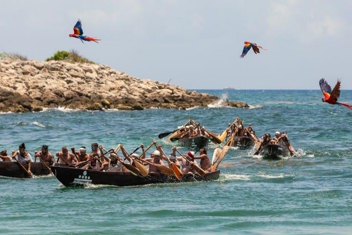 Canoeros en Travesía Sagrada Maya Foto: Travesía Sagrada Maya
