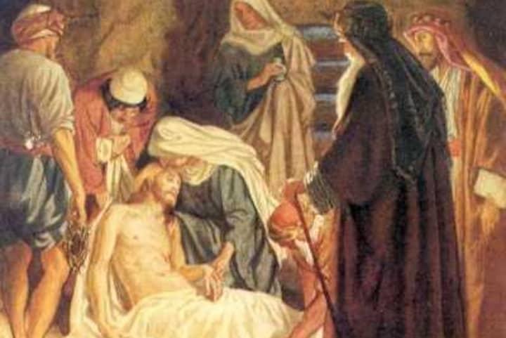 José de Arimatea con el cuerpo de Jesucristo en la Tumba de las Flores. Foto: Primeros Cristianos.