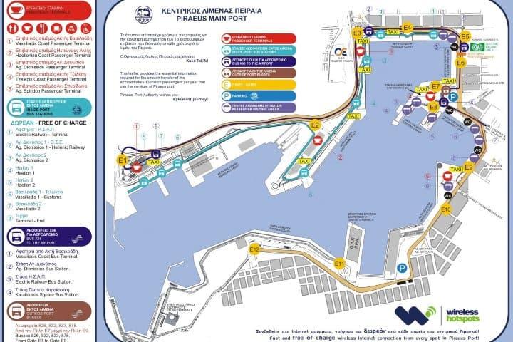 Mapa de Transporte en Puerto del Pireo. Foto: 101 Viajes