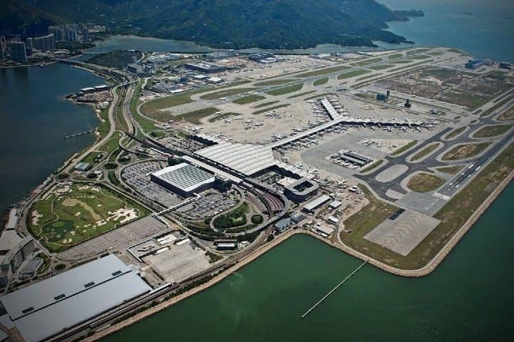 Aeropuerto de Hong Kong, vista aérea. Foto: Pinterest.