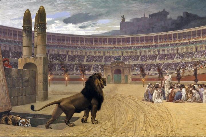 Pintura ilustrativa de los espectáculos con fieras en el Coliseo Romano. Foto: Archivo.