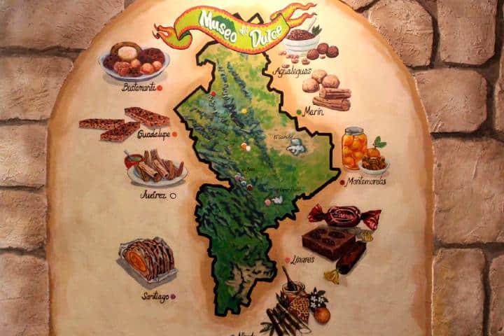 Mapa de las regiones de Nuevo León con sus dulces típicos Foto: Museo del dulce