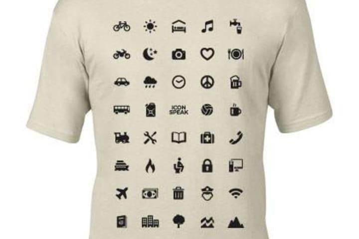 Camiseta Iconspeak para comunicarte en cualquier idioma. Camisa. Imagen. Archivo