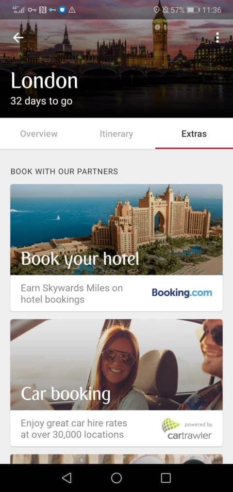 Captura de pantalla de la app móvil de Emirates y Huawei. Foto: Emirates