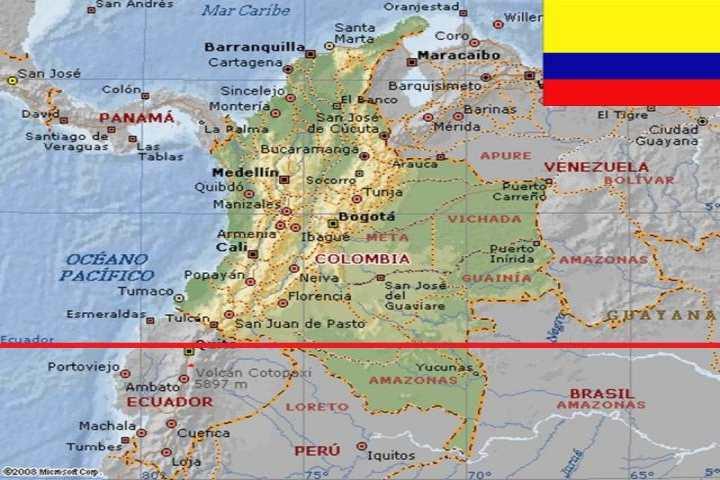 Estos son los países que el ecuador pasa sobre ellos