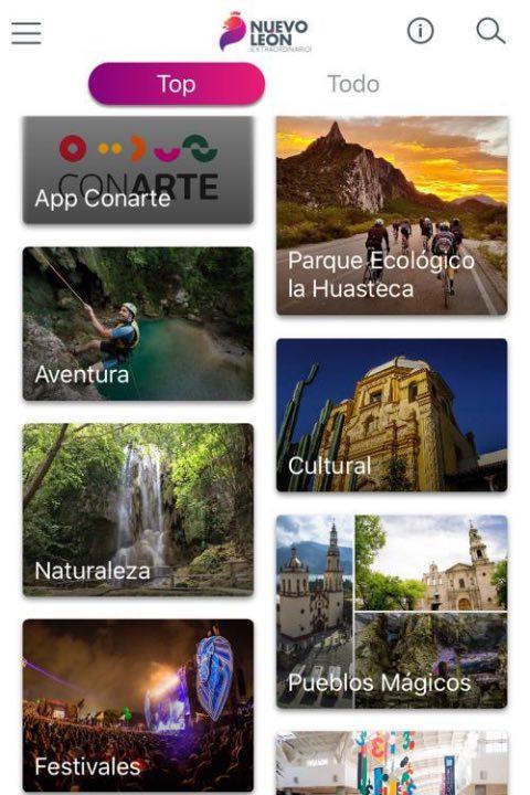 Captura de la app Pasaporte Nuevo León Extraordinario. Foto: Archivo
