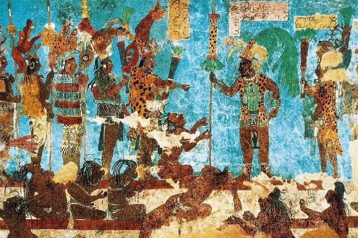 Pintura de un sacrificio en los muros de Bonampak Foto: Foto: Chicomoztoc 7 cuevas