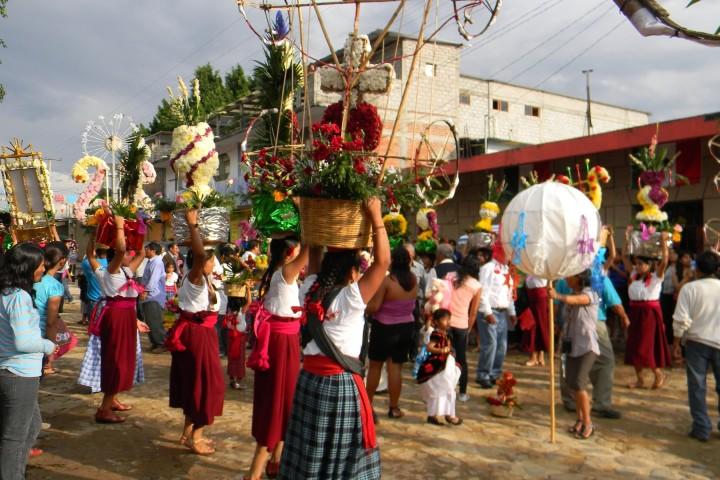 Canastas ya decoradas. Foto: iglesia tlacochahuaya