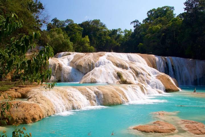 Cascada de agua azul en Chiapas Foto: Tips para tu viaje